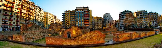 Ancient structures and buildings. A picture of Ruins of the Roman-era Imperial Palace of Galerius,and buildings in the background,in navarinou sq in thessaloniki Stock Image