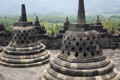 Ancient stupa at Borobudur is a 9th-century Buddhist Temple in Yogyakarta, Central Java, Indonesia stock photo