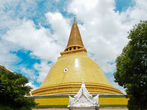 Ancient stupa Phra Pathom Chedi, Nakhonpathom, Thailand. Ancient bell shape stupa Phra Pathom Chedi in golden brown color, Nakhonpathom, Thailand royalty free stock photos