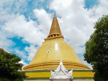 Ancient stupa Phra Pathom Chedi, Nakhonpathom, Thailand. Ancient bell shape stupa Phra Pathom Chedi in golden brown color, Nakhonpathom, Thailand Royalty Free Stock Photos
