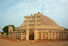 Ancient Stupa in Sanchi,India. Ancient stupa in Sanchi (India,madhya pradesh state) at sunset royalty free stock image
