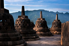 Ancient Stupas of Borobudur Temple. Ancient Stupas of the Borobudur Temple which was built around 800 AD Royalty Free Stock Images