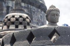 Ancient stupas inside Borobudur temple Stock Photo