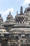 Ancient stupas inside Borobudur temple Stock Photography
