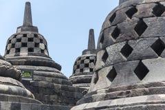 Ancient stupas inside Borobudur temple Royalty Free Stock Image