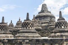 Ancient stupas inside Borobudur temple Royalty Free Stock Photo