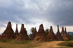 Ancient stupas in Sangkar village, Myanmar Stock Photos