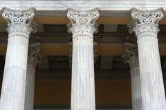 Ancient-Style Columns. Marble ancient style columns in front of Zappion building in Athens, Greece royalty free stock photos