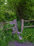Ancient style on a footpath in the Lythes near Selborne, Hampshire, UK royalty free stock image