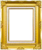 Ancient style golden photo image frame. Isolated on white background royalty free stock photo