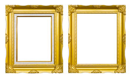 Ancient style golden photo image frame. Ancient style golden wood photo image frame isolated on white background stock photo