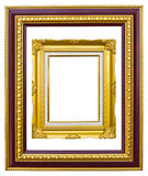 Ancient style golden photo image frame. Ancient style golden wood photo image frame isolated on white background stock images