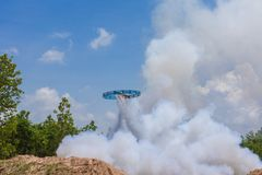 Ancient style rocket launching into sky after ignition. In annual rocket competition festival at Kudwa village in Kasasin, Thailand Stock Photography