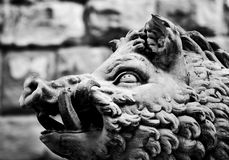 Ancient style sculpture of Wild boar in Florence, Italy. Royalty Free Stock Photography