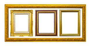 Ancient style wood photo image frame isolated. On white background stock images