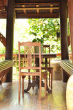 Ancient style wooden table set inside the gazebo Royalty Free Stock Image