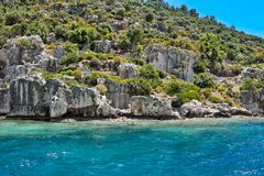 Ancient submerged city in Kekova Royalty Free Stock Photography