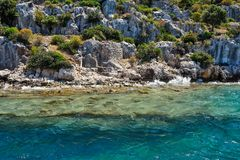 Ancient submerged city in Kekova Stock Images