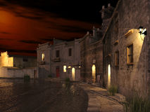 Ancient suburban China in dusk time. 3d rendering of ancient China village in suburban area in dusk time Royalty Free Stock Photography