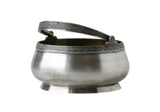 Ancient sugar bowl, silver Royalty Free Stock Image