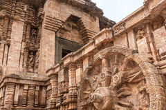 Ancient Sun Temple. A chariot wheel carved into the wall of the sun temple at Konark, India Stock Photography