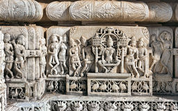 Ancient Sun Temple in Ranakpur. Jain Temple Carving. Stock Photo