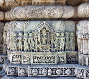 Ancient Sun Temple in Ranakpur. Jain Temple Carving. Royalty Free Stock Image