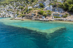 Ancient sunk city in Kekova, Kas, Antalya. Turkey Stock Photography