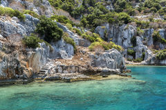 Ancient sunk city in Kekova, Kas, Antalya. Turkey Stock Photos