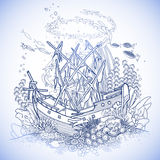 Ancient sunken ship and coral reef. Drawn in line art style. Ocean fish and plants in blue colors. Coloring book page design Royalty Free Stock Images
