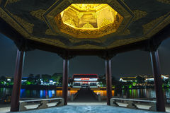 Ancient Suzhou city at night. Beautiful night scene of suzhou street in suzhou city. China royalty free stock image