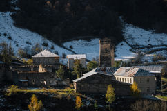 Svan Towers in Ipari, Svaneti, Georgia. Georgian landmarks stock photography