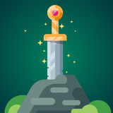Ancient sword in the stone. Stock Photos