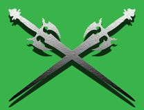 Ancient swords. Abstract colored image with green background and swords Royalty Free Stock Photography