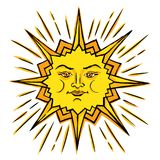 Ancient symbol of life. Vector color sketch of a stylized sun with a female face. Ancient symbol of life. The pagan chief god is the universe. Hand drawn stock illustration
