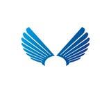 Ancient Symbolic blue Wings emblem. Heraldic vector design eleme Stock Photo