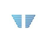 Ancient Symbolic blue Wings emblem. Heraldic vector design eleme Stock Image