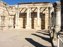 Ancient synagogue in Capernaum Israel. Ruins of ancient synagogue in Capernaum, Israel Stock Images