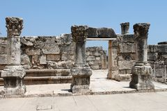 Ancient Synagogue Ruins at Capernaum Royalty Free Stock Photo