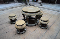 Ancient table and chairs made from stone in Chinese style Stock Photography