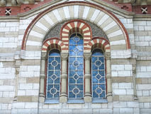 Ancient tall gothic stained glass window Royalty Free Stock Photo
