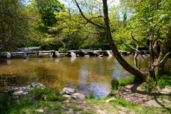 The ancient Tarr Steps in Devon. Which cross the River Barle Royalty Free Stock Photo