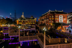 Ancient tea house Fang Bang Zhong Lu old city at night shanghai Stock Images