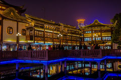 Ancient tea house Fang Bang Zhong Lu old city at night shanghai Stock Photo