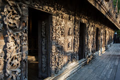 Ancient teak monastery of Shwenandaw Kyaung in Mandalay Royalty Free Stock Photography