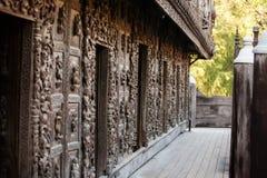 Ancient teak monastery of Shwenandaw Kyaung Royalty Free Stock Images