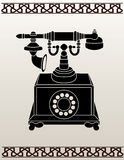 Ancient telephone stencil Stock Photo