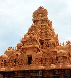 Ancient temple. Micro work hindhu temple top view in south india Royalty Free Stock Photography
