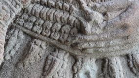 Ancient Temple (Angkor) - Bas-relief detail #15 stock video