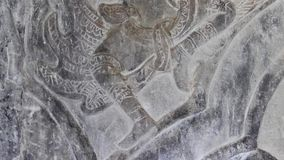 Ancient Temple (Angkor) - Detail Bas-relief Dancer ECU stock video